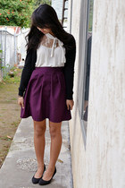 made by me skirt - H&M cardigan - papaya top - H&M heels