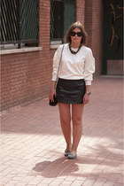 white Mango shirt - black Bershka skirt - heather gray Zara flats