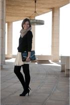 eggshell Zara skirt - black Zara sweater - beige Primark scarf