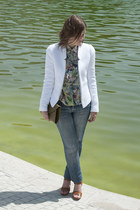 white Zara jacket - sky blue Zara blouse