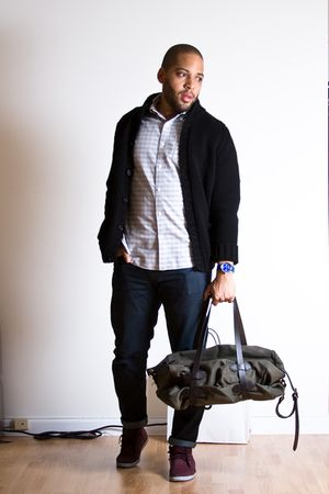 black Zara cardigan - green Filson bag - blue Levis jeans - gray Club Monaco shi