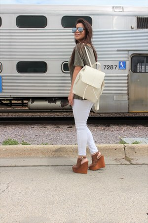 beige Zara bag - black Quay Australia sunglasses - brown Charlotte Russe wedges