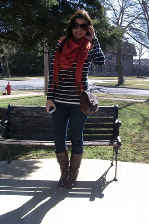 orange scarf H&M scarf - dark brown boots Steve Madden boots