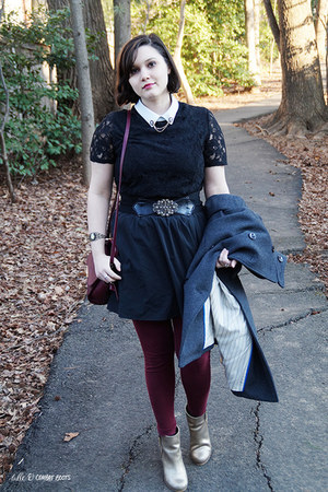 gold Nordstrom boots - black Forever 21 dress - maroon Old Navy leggings
