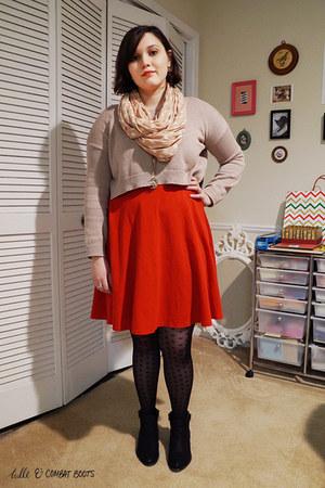 black Steve Madden boots - red H&M dress - tan Forever 21 sweater