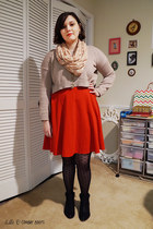 black Steve Madden boots - red H&M dress - tan Forever 21 sweater