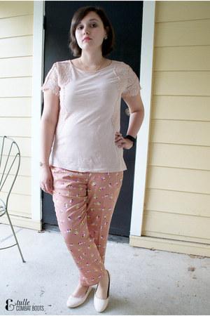 light pink Loft shirt - light pink JCrew pants - light pink H&M flats