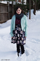 black DSW boots - aquamarine Urban Outfitters jacket - dark gray Target scarf