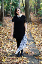black etienne agnier boots - black Forever 21 dress - white scarf