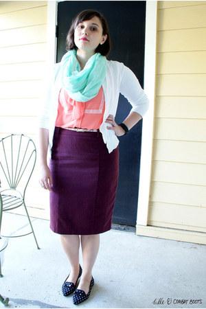 maroon merona skirt - aquamarine francescas scarf - white Lands End cardigan