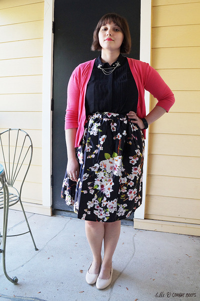black H&M top - black Choies skirt - hot pink Gap cardigan
