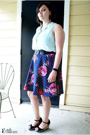 navy modcloth skirt - black Old Navy wedges - light blue Old Navy top