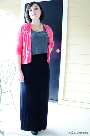 black Target dress - hot pink Gap cardigan - black Kork ease heels