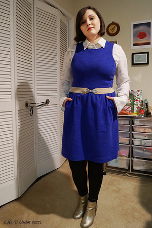 blue madewell dress - gold Nordstrom boots - black tights - white H&M blouse