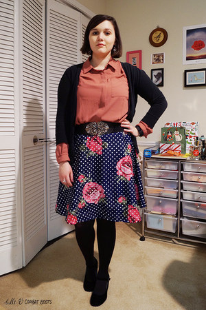 black forever wedges - coral Loft blouse - navy modcloth skirt