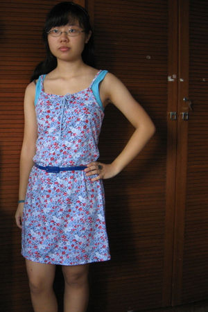 purple dress - blue warehouse top - blue flea market belt - blue flea market acc