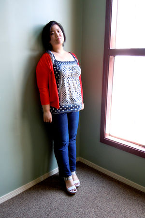 red Mossimo cardigan - blue lucky top - white Aldo shoes