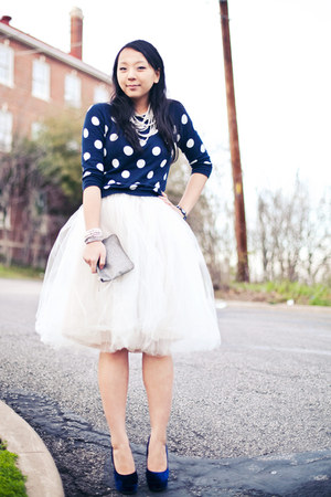 white tutu Shabby Apple skirt - navy polka dot Old Navy sweater