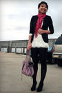 Blue-blazer-pink-scarf-white-dress-purple-purse-black-earrings-black-t