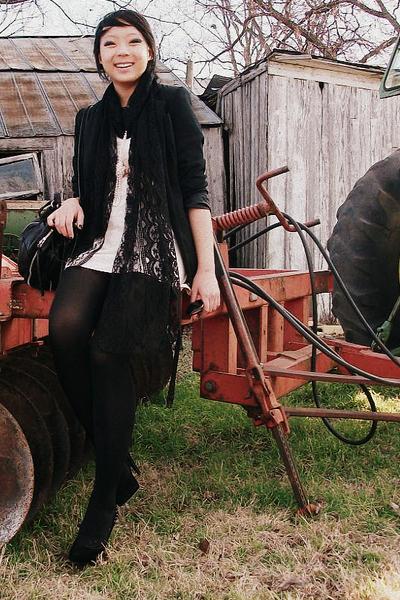 Lipsy dress - the sak purse - Etsy scarf - vintage blazer - Ebay necklace - lulu