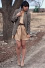 Gray-thrifted-blazer-nude-vintage-dress-beige-forever-21-heels-light-brown