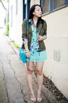 olive green military Forever 21 jacket - aquamarine chiffon Forever 21 dress