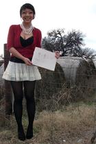 white Forever 21 skirt - red Forever 21 cardigan - black Forever 21 top - black