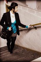 black vintage blazer - white vintage shirt - blue Express cardigan - gray f21 sh