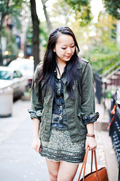 green camo Ebay shirt - olive green military Topshop jacket