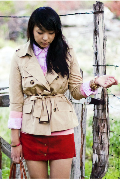 brick red suede Forever 21 skirt - beige trench Forever 21 jacket