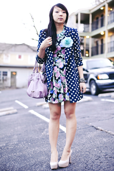 black floral asos dress - navy polka dot Forever 21 coat