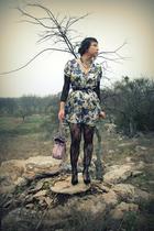 white asos dress - black lingerie store tights - purple belt - purse - f21 neckl