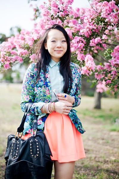 blue floral Zara blazer - peach neon Lulus skirt