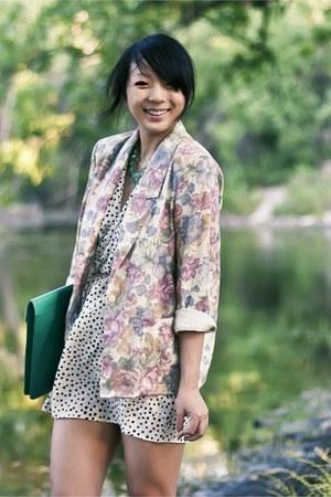 white polka dot dress - cream floral vintage blazer - teal leather asos bag