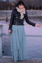 black leather Forever 21 jacket - light blue maxi asos skirt
