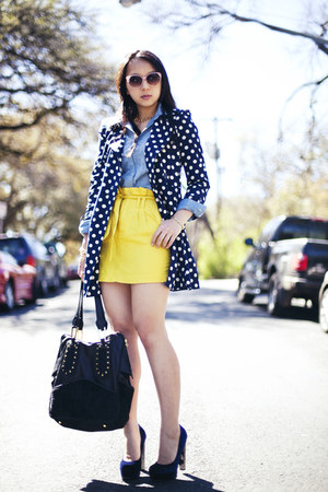yellow paperbag Forever 21 skirt - blue polka dot Forever 21 jacket
