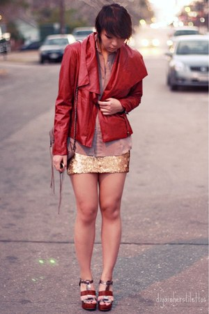 ruby red leather bagatelle jacket - gold sequin Charlotte Russe skirt