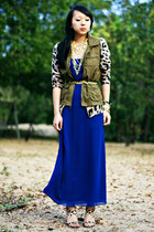 blue maxi Forever 21 dress - army green military Old Navy vest