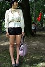 White-vintage-blouse-black-uo-shorts