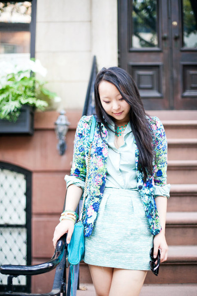 Blue Floral Zara Blazers Green Button Down Lands End Blouses