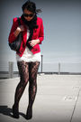 Red-vintage-blazer-topshop-tights-f21-dress-etsy-scarf-silver-random-acc