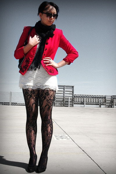 Topshop tights - f21 dress - red vintage blazer - Etsy scarf
