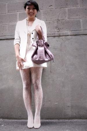 white blazer - beige slip scarf