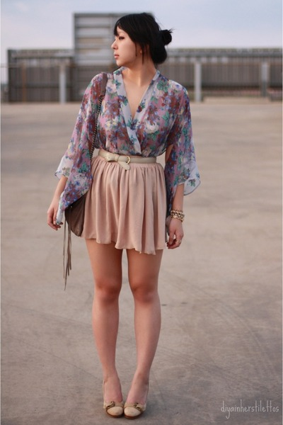 chiffon American Apparel skirt - floral Topshop blouse
