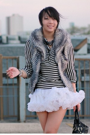 white tutu American Apparel skirt - ivory striped Forever 21 blouse