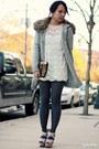 Gray-forever-21-cardigan-white-forever-21-dress-bronze-asos-bag
