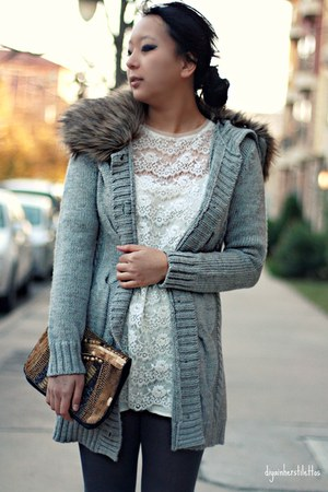 gray Forever 21 cardigan - white Forever 21 dress - bronze asos bag