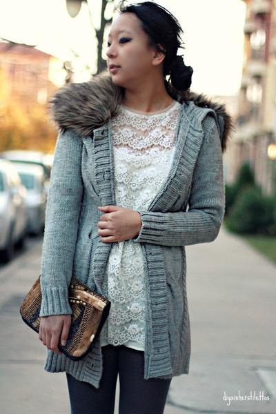 gray Forever 21 cardigan - white Forever 21 dress - bronze asos bag