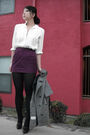 Purple-skirt-gray-vintage-coat-white-vintage-shirt-black-aldo-shoes-blac