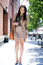 tan trench jacket - gold Zara skirt - light brown nude Mango pumps